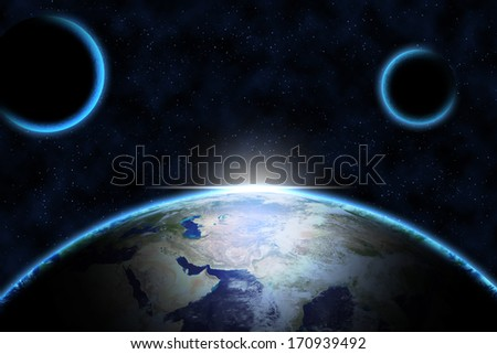 Earth from space   Elements of this image furnished by NASA - stock photo