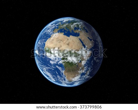 Earth from space. View of Europe and Africa in daytime. 3D realistic illustration. - stock photo