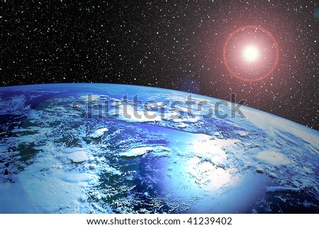 Earth from space with stars and sun flare - stock photo