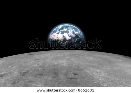 Earth from the moon - stock photo