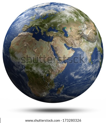 Earth globe - Africa, Europe and Asia. Elements of this image furnished by NASA - stock photo