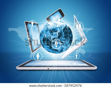 Earth globe and electronics. Concept of communication. Elements of this image are furnished by NASA - stock photo