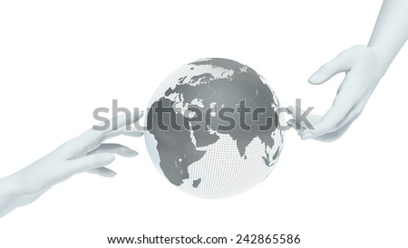 earth globe and hands - stock photo