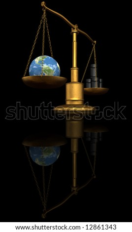 earth globe and oil barrel on a scale on black background