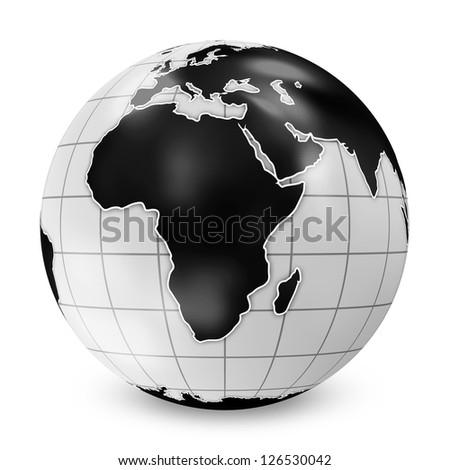 Earth Globe Black Style isolated on white background - stock photo