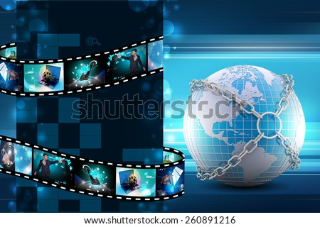 Earth globe close in chain    - stock photo