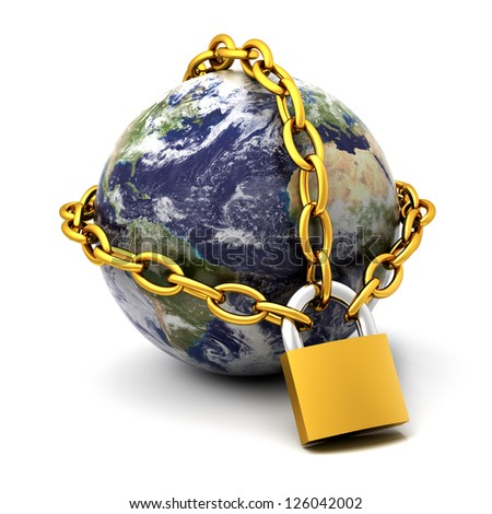 Earth globe close in chain and padlock.Elements of this image furnished by NASA - stock photo