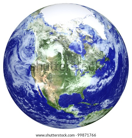 Earth globe cloud map. Side of the North America. The Earth texture of this image furnished by NASA. (http://visibleearth.nasa.gov/view.php?id=57735) - stock photo