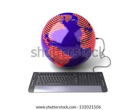 Earth Globe connected with computer �¢??keyboard�¢?�. - stock photo