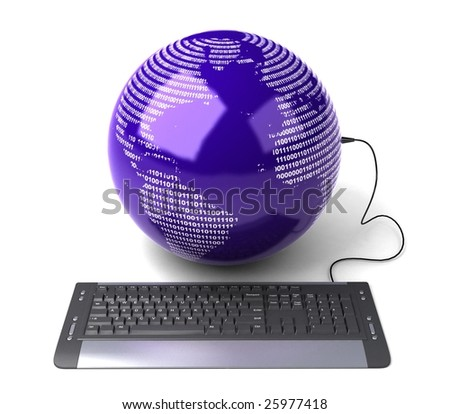 Earth Globe connected with computer ?keyboard?. - stock photo