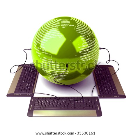 Earth Globe connected with computer keyboard - stock photo