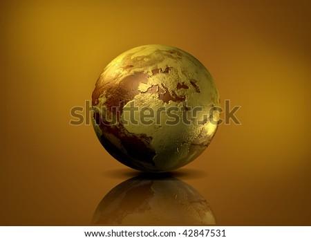 Earth globe - 3D computer graphics - stock photo