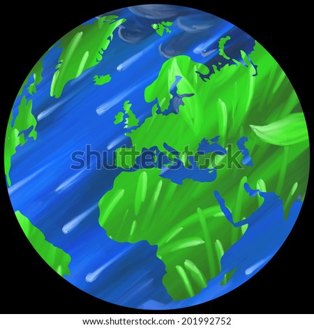 Earth Globe Eastern Hemisphere digital oil painting