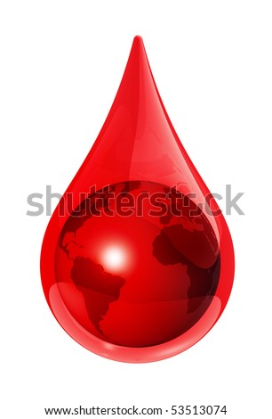 Earth globe in a blood drop - 3D illustration - stock photo