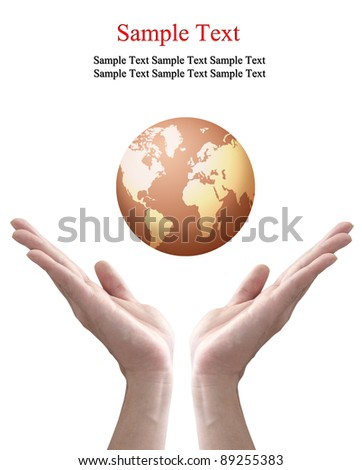 earth globe in hands isolated on white - stock photo