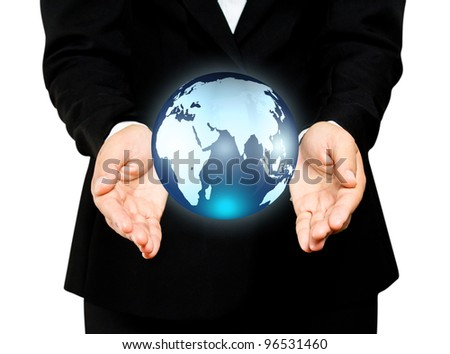earth globe in woman hands