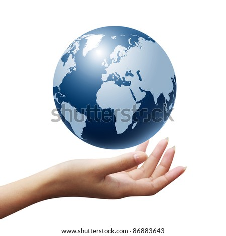 earth globe in woman hands isolated - stock photo