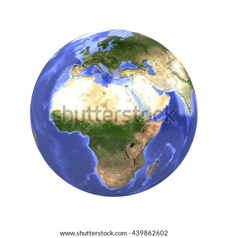 Earth Globe Isolated 3D Rendering - stock photo