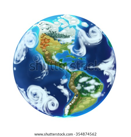 Earth Globe isolated on white background. North and South America. Cartoon illustration  - stock photo