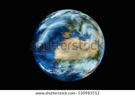 earth globe - little blurred by rotation