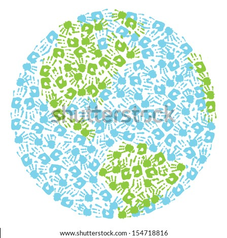 Earth globe made from handprints  - stock photo