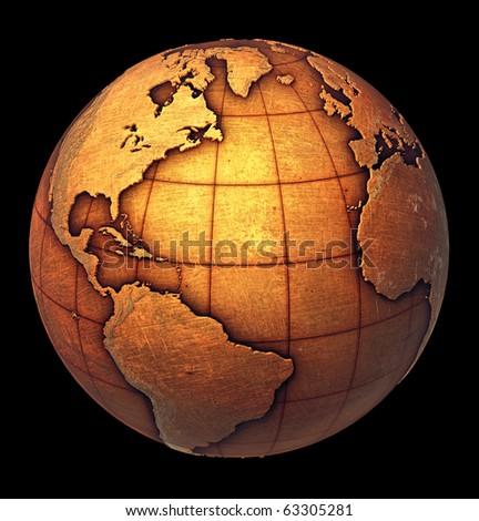 Earth globe made of grunge copper like metal - stock photo