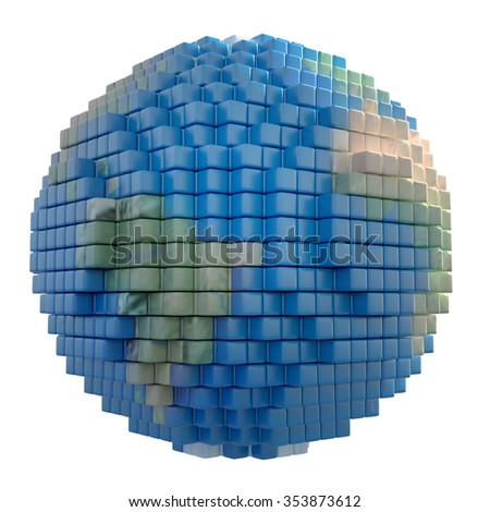Earth globe made out of voxel 3d cubes - stock photo