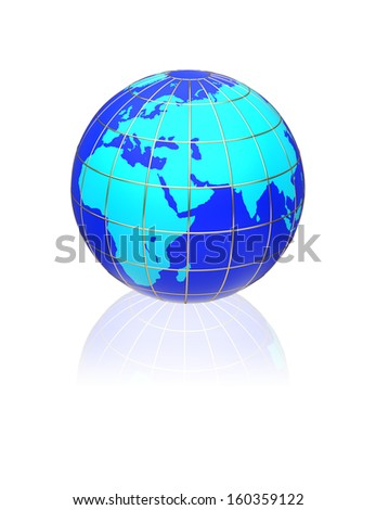 Earth globe map on a white background. Side of Africa and Europe.