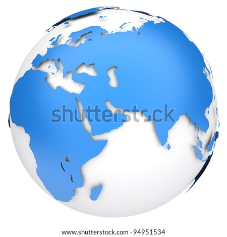 earth globe map side of africa and europe 3d image