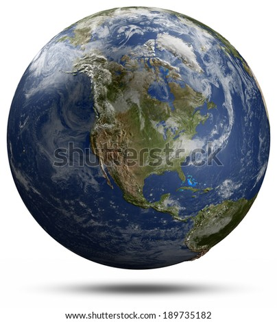 Earth globe - North America. Elements of this image furnished by NASA - stock photo