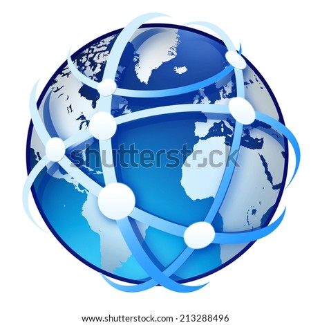 earth globe on the white background - stock photo