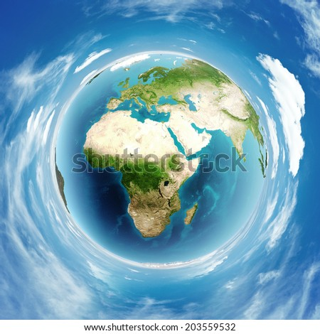 Earth globe real relief. Elements of this image furnished by NASA - stock photo