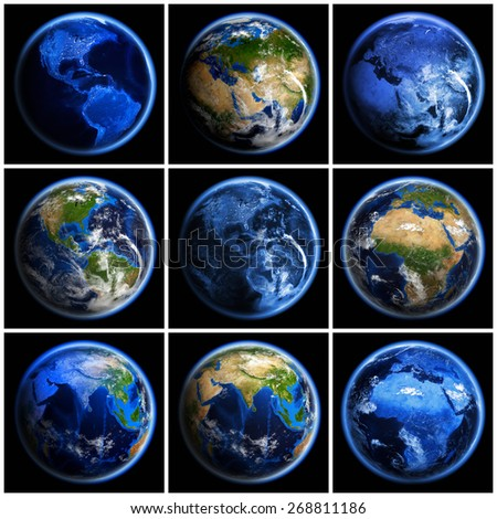 Earth globe set. Elements of this image furnished by NASA - stock photo