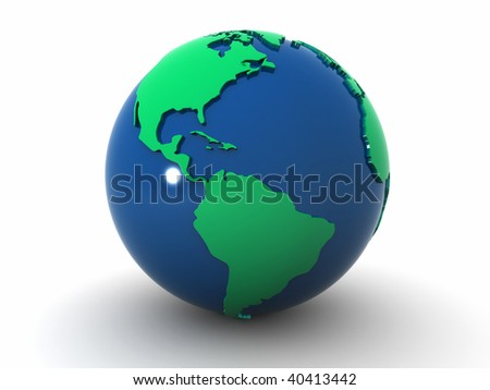 Earth globe showing America - 3d render