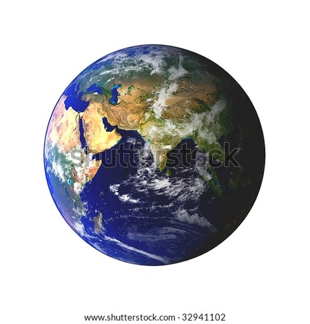 Earth globe showing on white background clouds visible. Some components of this image are provided courtesy of NASA, and have been found at visibleearth.nasa.gov - stock photo