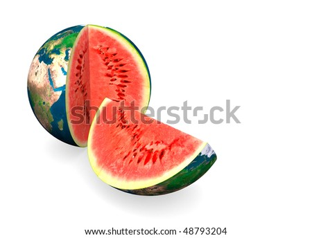 Earth globe surface with water melon inside conceptual abstract colorful 3D illustration Isolated on white background