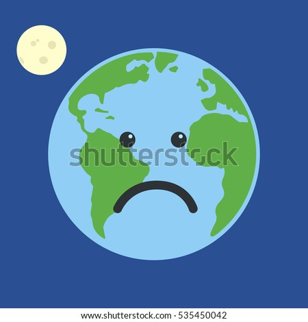 Earth globe very sad. Isolated on blue background. Flat planet Earth icon.  illustration.