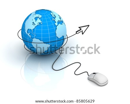 Earth globe with computer mouse cursor on white background, Internet concept - stock photo