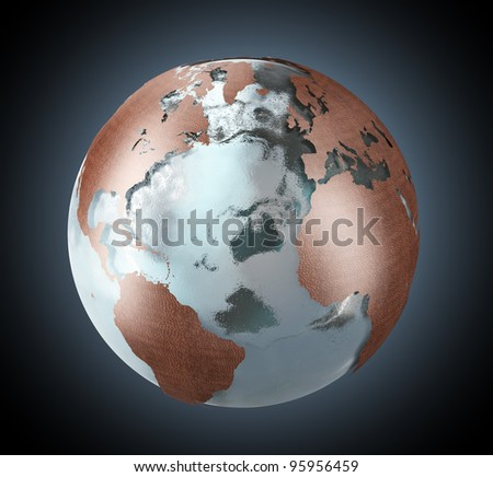Earth globe with continents made of copper and the oceans of ice. - stock photo