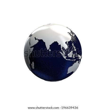 earth globe with extruded continents isolated on white background
