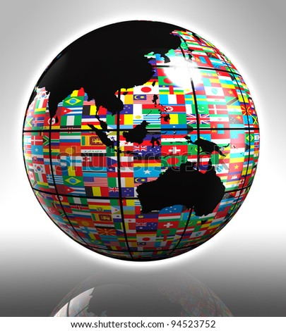 earth globe with flags featuring australia and asia