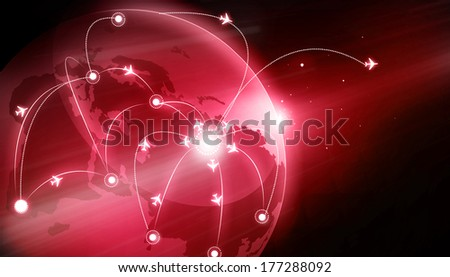 Earth Globe with flight paths. Connecting the world   - stock photo