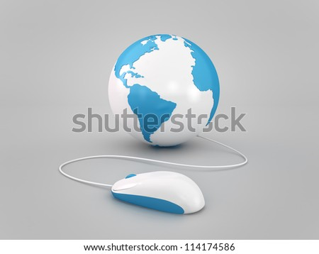 earth globe with mouse concept elements of this image furnished by NASA - stock photo