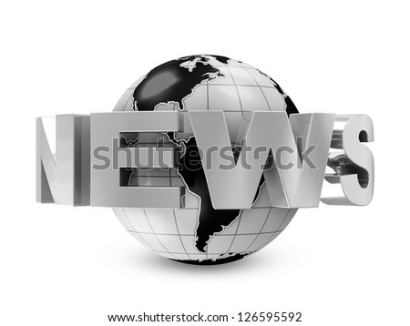 Earth Globe with word News isolated on white background (World News Concept) - stock photo