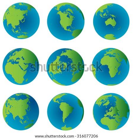 Earth globes set - stock photo