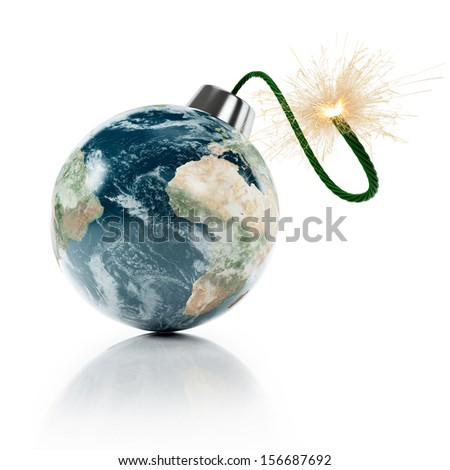 Earth grenade. Isolated on white. Earth map provided by NASA. - stock photo