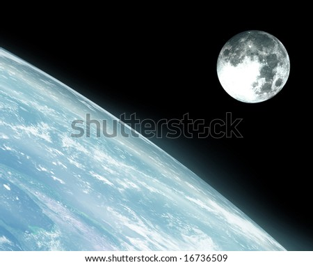 Earth horizon with moon on a dark background - stock photo