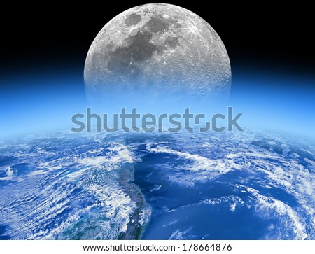 Earth horizon with rising Moon. Earth disk furnished by NASA/JPL. Moon is my astro-photography work. - stock photo