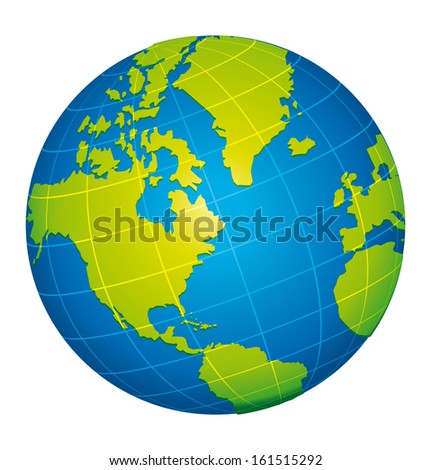 Earth icon. American view. - stock photo