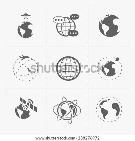 Earth icons set on white background. - stock photo